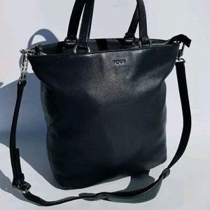 Tous Leather Black Tote Stachel Crossbody Bag